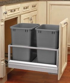Rev-A-Shelf - 5149-18DM-217 - Double 35 Qt. Pull-Out Brushed Aluminum and Silver Waste Container with Rev-A-Motion