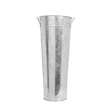 "Hosley 15"" High Galvanized Vase. Ideal for Dried Floral Arrangements, for Wedding Gift, Spa and Aromatherapy Settings O3"