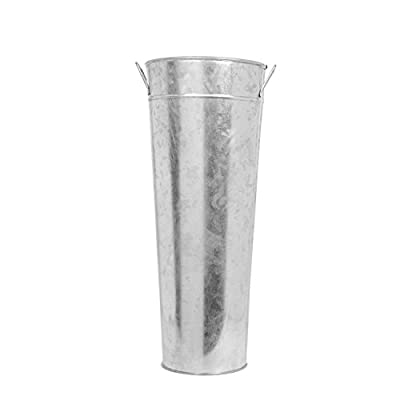 "Hosley 15 Inch High Galvanized Vase. Ideal for Dried Floral Arrangements for Wedding Gift Spa and Aromatherapy Settings O3 - PRODUCT: Hosley's 15"" High Galvanized Cylinder Vase. USES: These are just the right use for dry floral or greenery arrangements, as a decor next to fireplaces and as a planter, for both fresh flowers or plants (must use protective liner if used). It can be the right gift for wedding or special occasions. BENEFITS: They can accent your home or office both indoors or outside for just the right decor. - vases, kitchen-dining-room-decor, kitchen-dining-room - 31TgrLvM4HL. SS400  -"