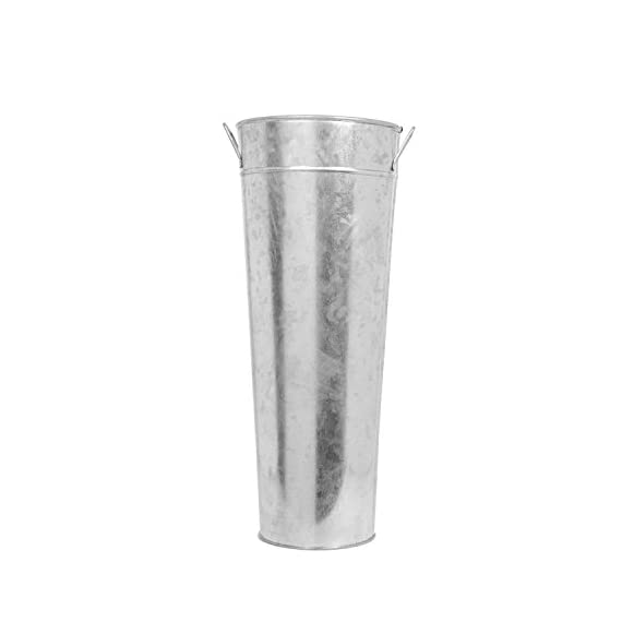 "Hosley 15 Inch High Galvanized Vase. Ideal for Dried Floral Arrangements for Wedding Gift Spa and Aromatherapy Settings O3 - PRODUCT: Hosley's 15"" High Galvanized Cylinder Vase. USES: These are just the right use for dry floral or greenery arrangements, as a decor next to fireplaces and as a planter, for both fresh flowers or plants (must use protective liner if used). It can be the right gift for wedding or special occasions. BENEFITS: They can accent your home or office both indoors or outside for just the right decor. - vases, kitchen-dining-room-decor, kitchen-dining-room - 31TgrLvM4HL. SS570  -"