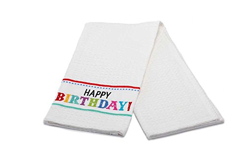 DII Happy Birthday Embroidered Kitchen Towel 100% Cotton 18 x 28 inches (271412)