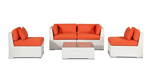 Kardiel  White Wicker Modern Patio Outdoor Furniture Love...