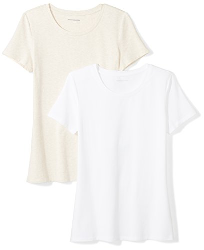 Amazon Essentials Women's 2-Pack Short-Sleeve Crewneck Solid T-Shirt, Oatmeal Heather/White, Small