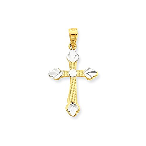 Mia Diamonds 10k Solid Yellow Gold with Rhodium Plating Budded Cross Pendant (30mm x (Gold Plate Budded Cross)