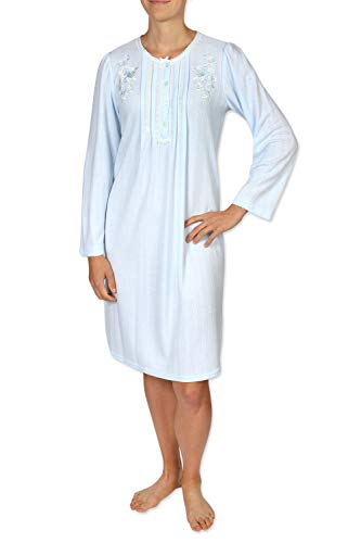 Miss Elaine Women's Short Nightgown - Brushed Honeycomb Knit Material - with Long Sleeves and a Round Neckline -