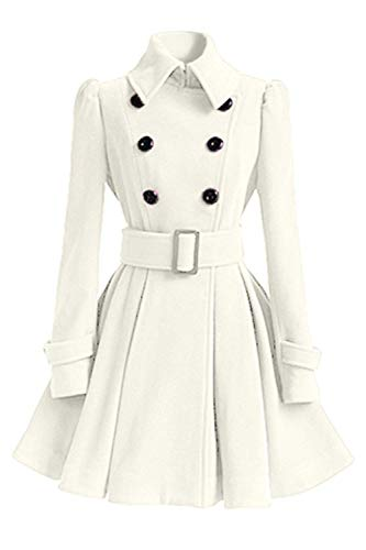 Classique Boutonnage paisseur Manteau Fit Trench Longues Double Coat Mode Longues Spcial Femme Slim Elgante Warm Blanc Vintage Hiver Revers Manches Style Outerwear xO4naqZv