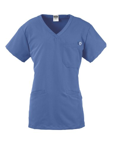 ave Scrubs Berkeley ave Women's Scrub Top, Two Lower Welt Pockets and ID Badge Holder, Ceil Blue, Small by ave Scrubs