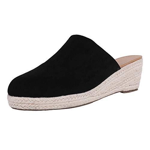 (Ruanyu Womens Slip On Mules Espadrille Wedges Closed Toe Backless Slide Sandals Black)