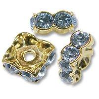 Swarovski Rondelle Square 6mm Light Sapphire Gold Plated (1-Pc)