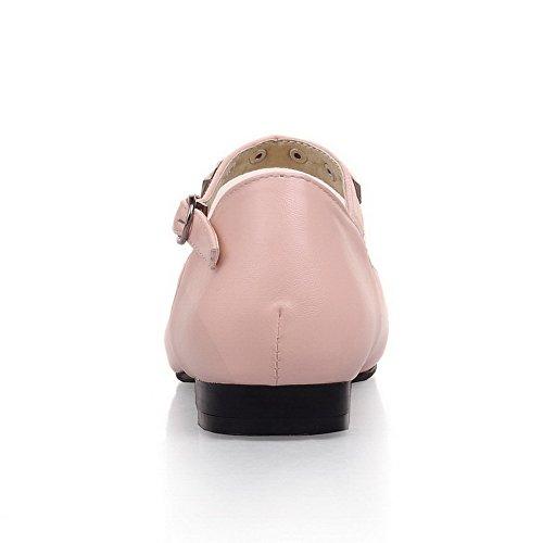 AllhqFashion Mujeres Hebilla Puntera Redonda Cerrada Mini Tacón Sólido De salón con Tachuelas Rosa