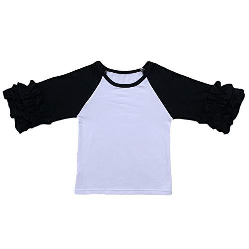 High School Tee Baby - Baby Girls Toddler 3/4 Sleeve Icing Ruffle T-Shirt Top Raglan Cotton Casual School Tee Cuff Undershirt Boutique Baseball Shirt Black 3-4