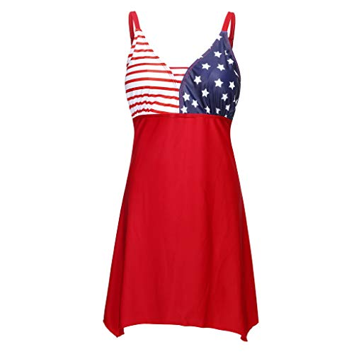 Women Two Piece Tankinis Plus Size Bathing Suit American Flag Print Swimwear Beachwear Swimdress with Boy Shorts (Red, XXXXL)