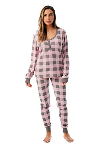 #followme Buffalo Plaid 2 Piece Base Layer Thermal Underwear Set for Women 6372-10195-NEW-PNK-S