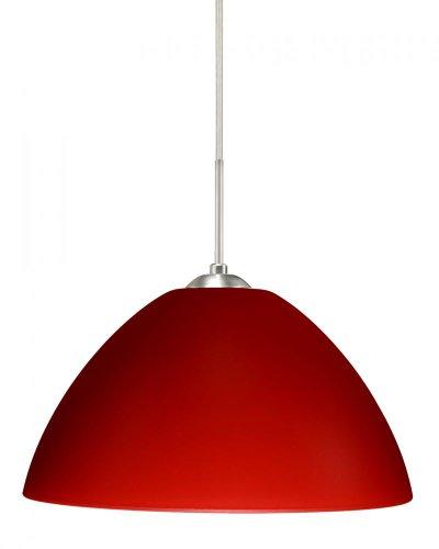 Besa Lighting 1JC-420131-LED-SN 1X6W GU24 Tessa LED Pendant with Red Matte Glass, Satin Nickel Finish