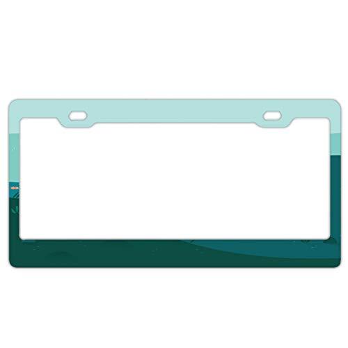 Laser-Cut Chrome License Plate Frame Underwater Fish Border Frames 12 X 6