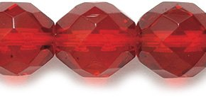 Preciosa Czech Fire 10mm Polished Glass Bead, Faceted Round, Transparent Dark Ruby, 60-Pack