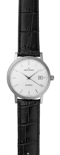 Claude Bernard Men's 80084 3 AIN Classic Automatic Black Leather Silver Dial Watch