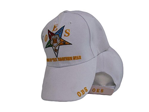 oes Order Of The Eastern Star Mason Freemason White Embroidered Cap Hat