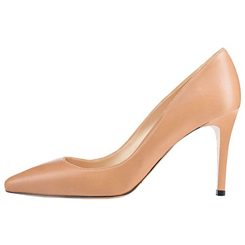 EKS Women's Mid-Heel Classic Slip On Dress Pumps High Heels Shoes Apricot-matte bGRKMMc