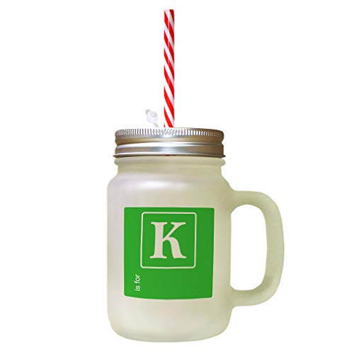 Green Alphabet Letter K Black Background Frosted Glass Mason Jar With Straw