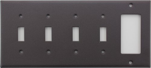 Brown Wrinkle 5 Gang Wall Plate - 4 Toggle Switches 1 GFI/Rocker Opening