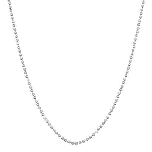 Kooljewelry Sterling Silver 0.9 mm Diamond-Cut Ball Chain Necklace (22 -