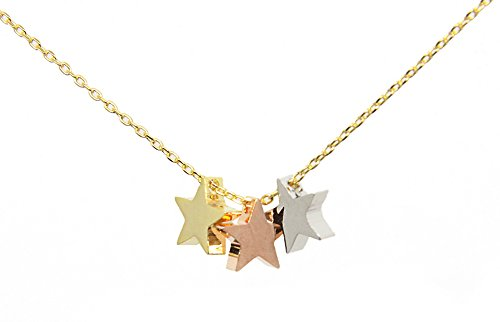 LDYBRD Rose, Silver And Gold Color Triple Star Necklaces for Women With Rose Gold Color Chain Costume Jewelry Pendant