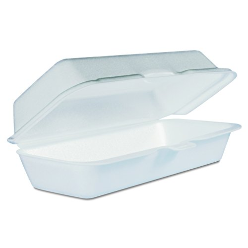 Dart 72HT1 Hot Dog Foam Hinged Container, 7.13 X 3.75 in (Case of 500)
