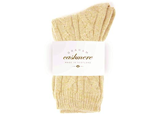 Graham Cashmere Women's Pure Cashmere Cable Bed Socks One Size Sand