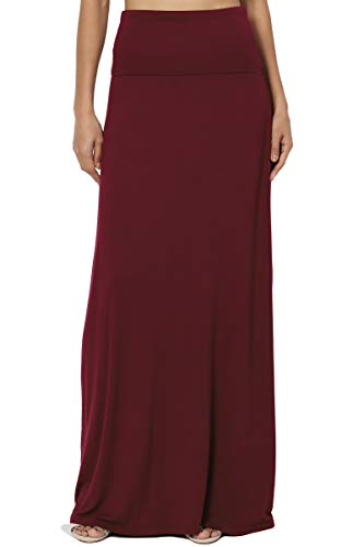 - TheMogan Women's Casual Solid Draped Jersey Relaxed Long Maxi Skirt Dark Burgundy M