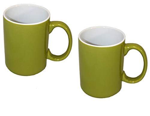 Café Ceramic Microwave Safe Large Handle Novelty Coffee & Tea Mug, Lime Green (Pack of 2) - Lime Green Mug