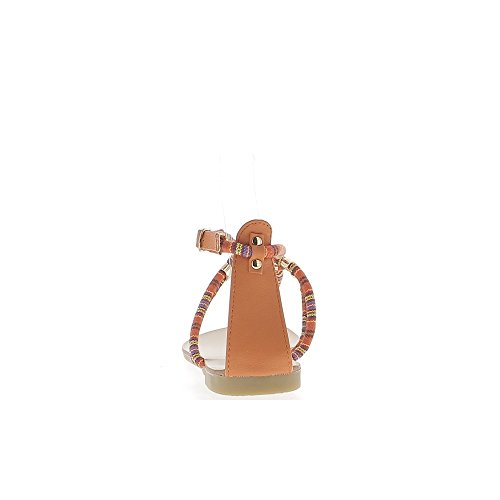 Nu-pieds femme oranges avec cordons et entre doigt à talonette