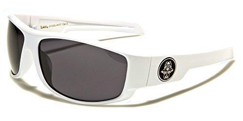 NUEVO Locs Hombre Rectangular Blanco Negro Motero Motociclista Gafas de sol deportivas COMPLETO UV400 Protección GRATIS