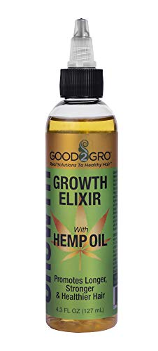 "Good2Gro Hair Growth Elixir with 100% Hemp Seed Oil""Soothe Dry, Itchy Scalp and Stimulates Overall Existing Hair Growth, Great For Underneath Wigs and Weaves"" 4.3oz."