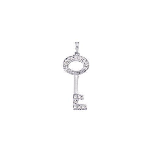 Roy Rose Jewelry 14K White Gold Ladies Diamond Small Key Pendant 1/10 Carat tw