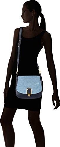 Michael Kors Delfina Saddlebag, Bolso bandolera para mujer Azul (Admiral)