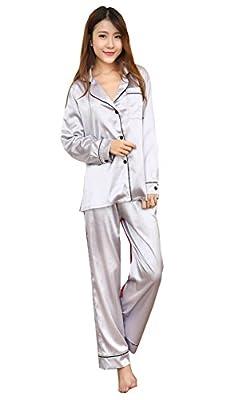 Cinyifan Womens Satin long Sleeve 2 Ppieces Sleepwear Pajamas Set