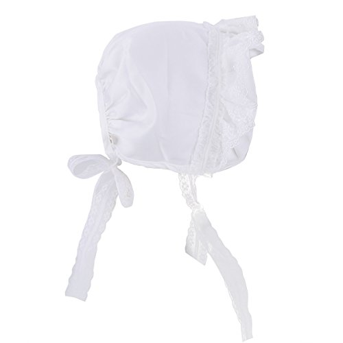 Silk Eyelet Embroidered Dress (YiZYiF Newborn Baby Girl's Christening Baptism Cap Lace Bonnet White 0-3 Months)