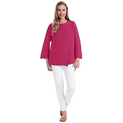 Pure HANDKNIT Women's 100% Handknit Cotton Cardigan Female Crossover Blazer with Ribbed Horizontal Stripes and Button Closure
