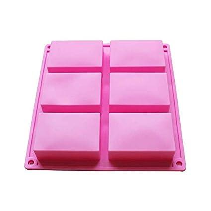 BAKER DEPOT Rectángulo molde de silicona para jabón artesanal, pastel, pan 6 hoyos, juego de 2: Amazon.es: Hogar
