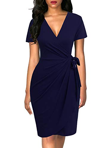 - Lyrur Women's Sexy Deep V Neck Cocktail Party Short Sleeve Draped Waist Tie Belt Knee Length Faux Wrap Dress(XL, 9069-Navy Blue)