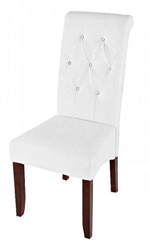 SAM/® Esszimmerstuhl Iwan in wei/ß mit kolonialfarbigen Beinen aus Pinienholz Stuhl mit SAMOLUX/®-Bezug pflegeleichter Stuhl mit geschwungener R/ückenlehne im abgesteppten Design angenehme Polsterung