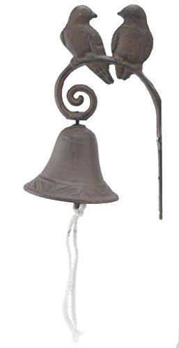 Import Wholesales Cast Iron Dinner Bell Love Birds Distressed Brown Doorbell