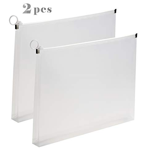 2Packs Letter Plastic Zip Envelopes Expandable File Document Paper Folder Case 9 3/4 x 13