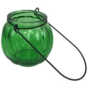 """Just Artifacts (6pcs) - 3"""" Round Ribbed Hanging Decorative Glass Candle Vase - Color: Green"""
