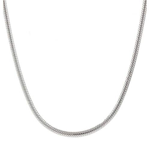 Verona Jewelers Sterling Silver 1.5MM 2MM Italian Solid Round Snake Chain Necklace-Sterling Silver Chain for Pendants, Magic Flexible Snake Chain (18-30) (16, 3MM)