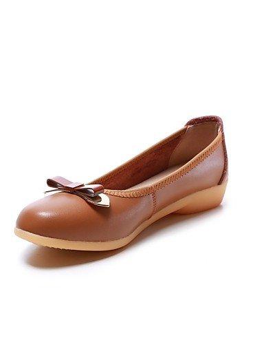 PDX/ Damenschuhe - Ballerinas - Outddor / Büro / Kleid / Lässig - Leder - Niedriger Absatz - Komfort / Rundeschuh - Schwarz / Braun , brown-us8.5 / eu39 / uk6.5 / cn40 , brown-us8.5 / eu39 / uk6.5 / c