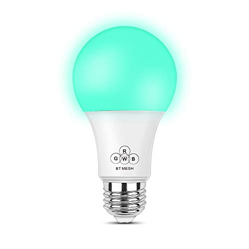 Smart Bluetooth Mesh Light Bulb, Dimmable Multicolored Party Smart Bulb Night Light for Bedroom Home,No Hub Required,A21 E27 E26 LED RGBW Light Lamp