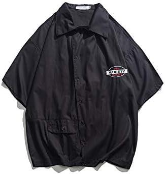 DXHNIIS Asimetría Carta Bordado Camisa de Gran tamaño Hombres ...