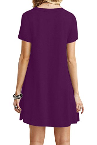 YMING Women Summer Casual Short Sleeve Dress Tea Shirt Mini Dress Dark Purple 3XL by YMING (Image #2)